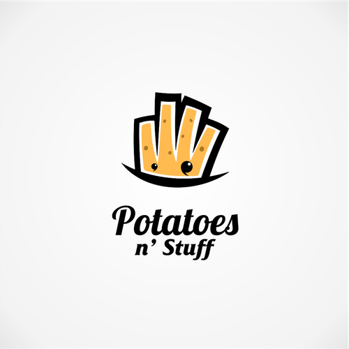 French fries logo with the title 'Playful logo for potatoes'