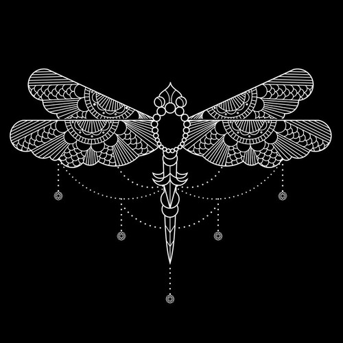 Fly design with the title 'Dragonfly Line illustration'