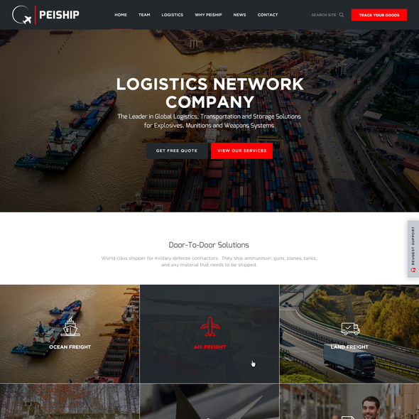 Industrial website with the title 'Website design for PEIShip'