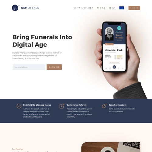 Funeral design with the title 'SaaS Landing Page Funeral'