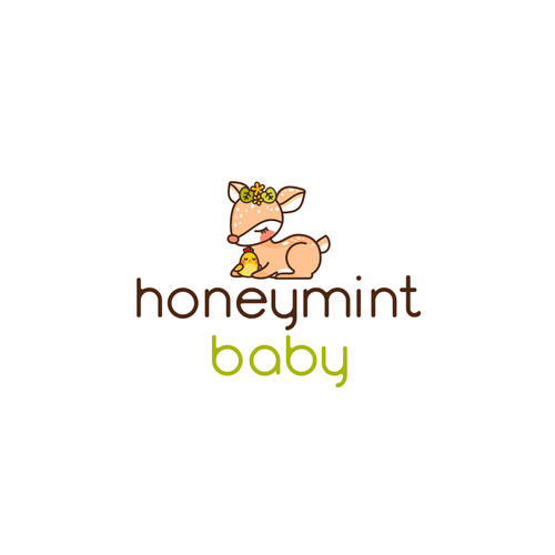 Deer design with the title 'Cute logo for children and baby clothing brand'