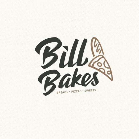 Food blog logo with the title 'Pizza Baguette Logo design'