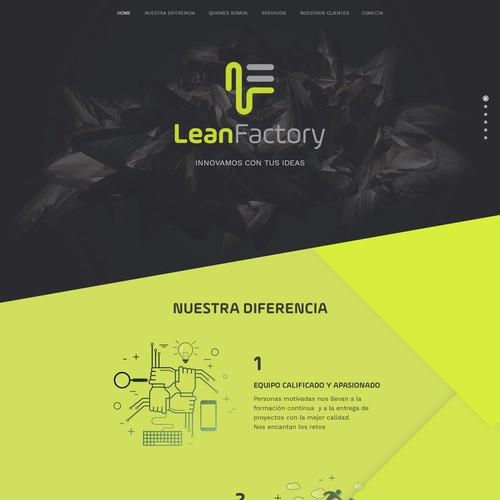 Development website with the title 'Lean Factory'