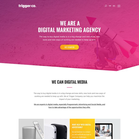 Portfolio website with the title 'Trigger Co Digital Marketing Agency Website'