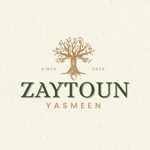 Olive oil logo with the title 'Zaytoun Yasmeen'