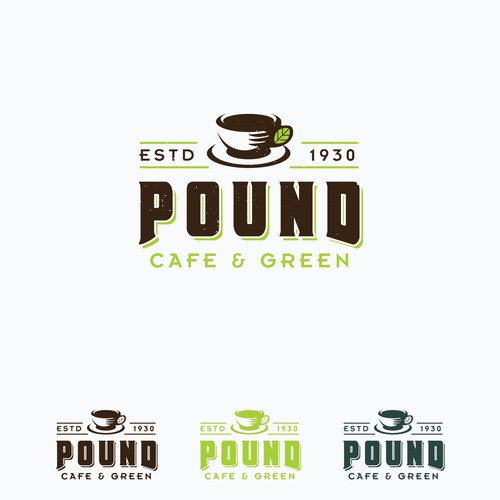 Cup brand with the title 'Pound Cafe Concept Logo'