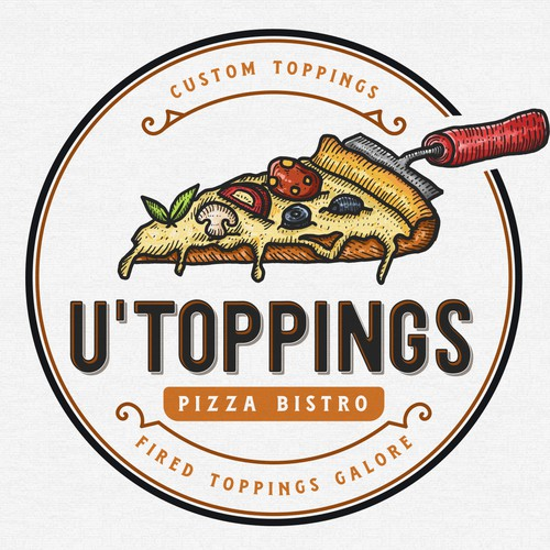 Pizza logo with the title 'U'Toppings Pizza Bistro'