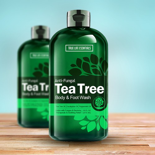 Oil design with the title 'Tea Tree Body Wash'