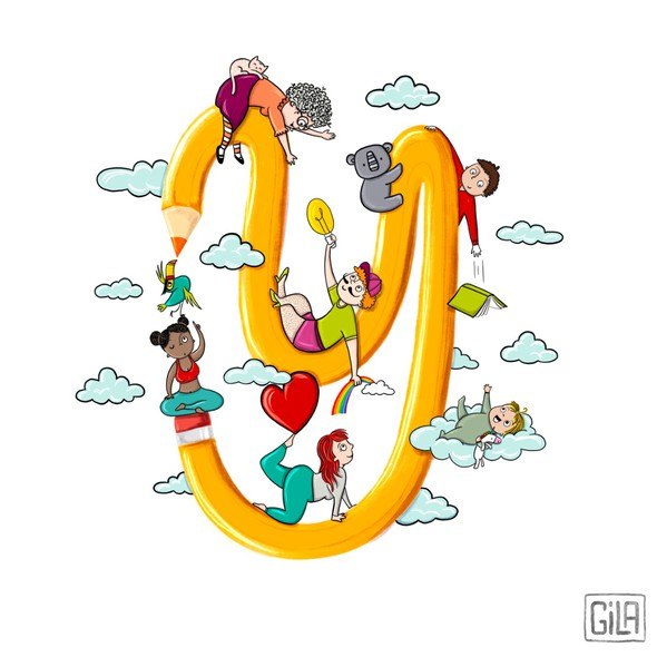 Teamwork design with the title 'Quirky illustration'