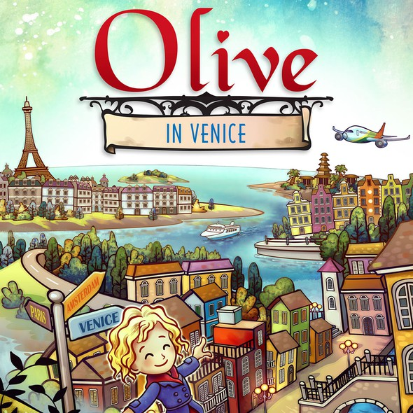 Storybook illustration with the title 'Olive in Venice'