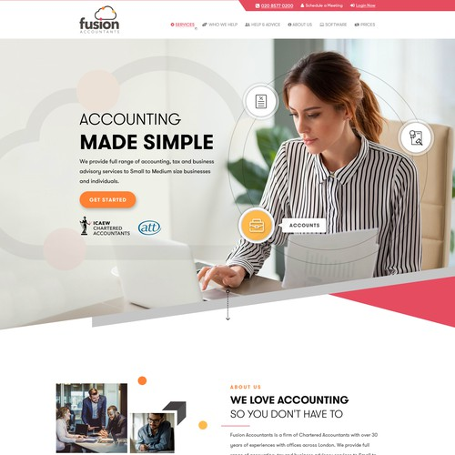 Product website with the title 'Fusion Accountants'
