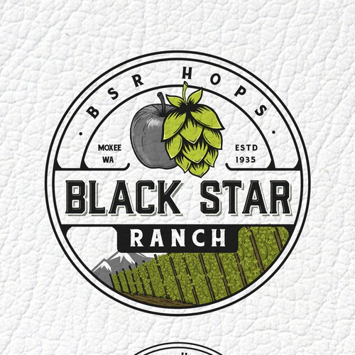 Field design with the title 'Black Star Ranch, BSR hops'