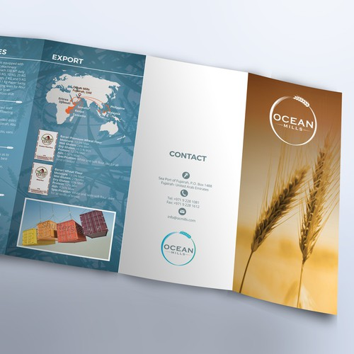 Overlay design with the title 'Brochure for Ocean Mills company'