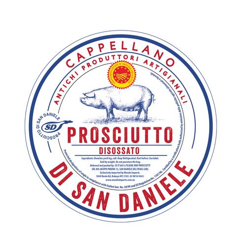 Retro label with the title 'Prosciutto label'