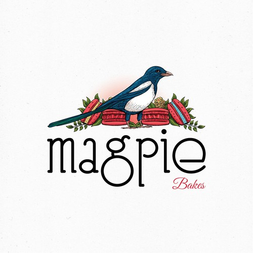 Magpie logo with the title 'Logo for a bakery'