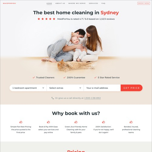 Cleaning website with the title 'Cleaning services website'