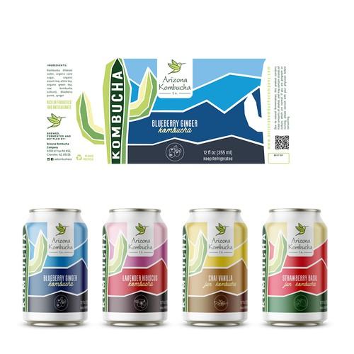 Winner label with the title 'Arizona Kombucha Company - new design for a canned kombucha'