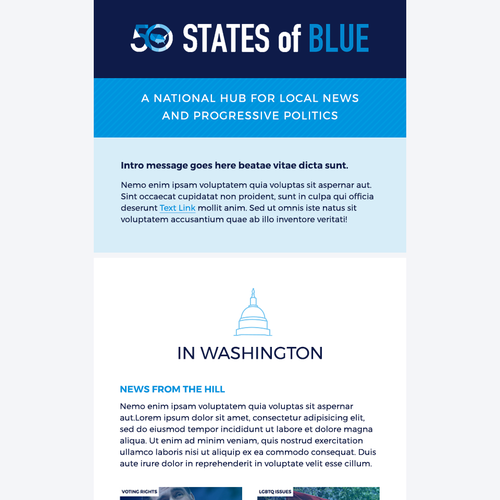 Newsletter design with the title '50 States of Blue Email Template'