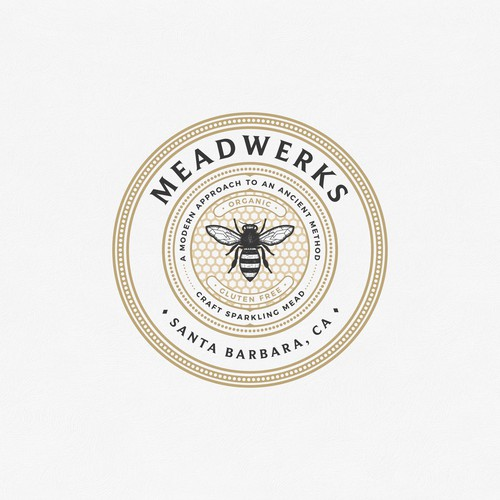 Honeycomb design with the title 'Logo concept for Meadwerks Santa Barbara California'
