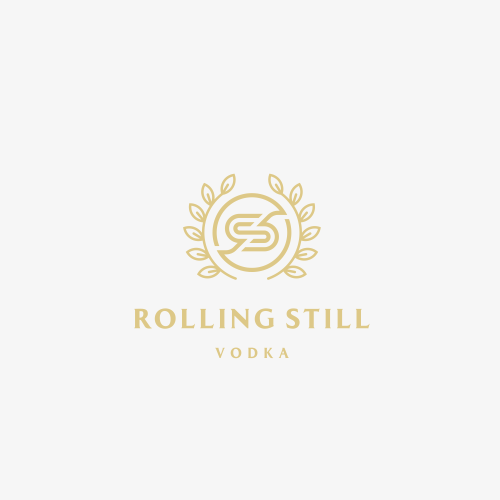 Vodka logo with the title 'Rolling Still Vodka'