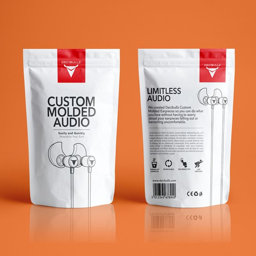 Accessories design with the title 'Awesome Eye Catching Pouch Needed for Earphone Company'