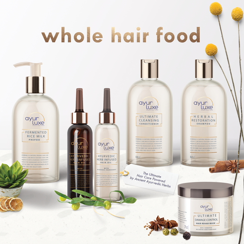 Hair packaging with the title 'Natural hair care product line'