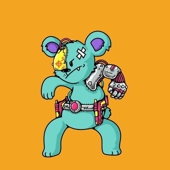 Animal character artwork with the title 'Cyborg koala'