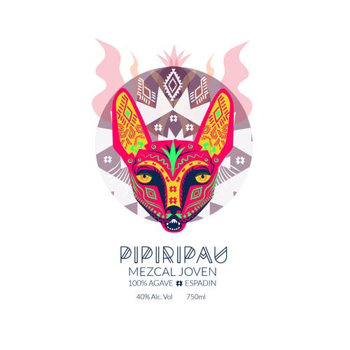 Agave design with the title 'Pipiripau - mezcal joven'