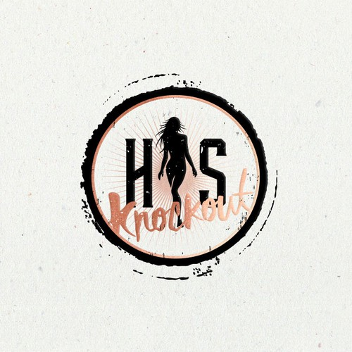 Rose gold design with the title 'Logo for His Knockout'