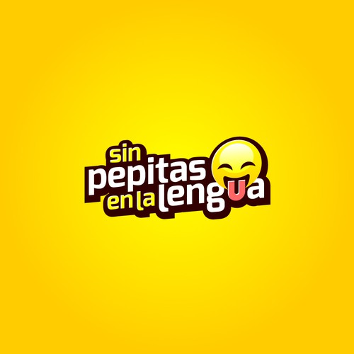 Emoji design with the title 'Fun logo concept for the movie Sin Pepitas En La Lengua'