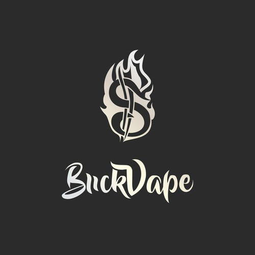 Dollar sign design with the title 'e-liquide logo and package design'