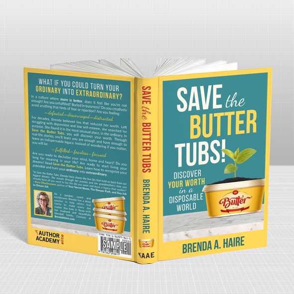 Inspirational book cover with the title 'Save the Butter Tubs - Inspirational and Uplifting'