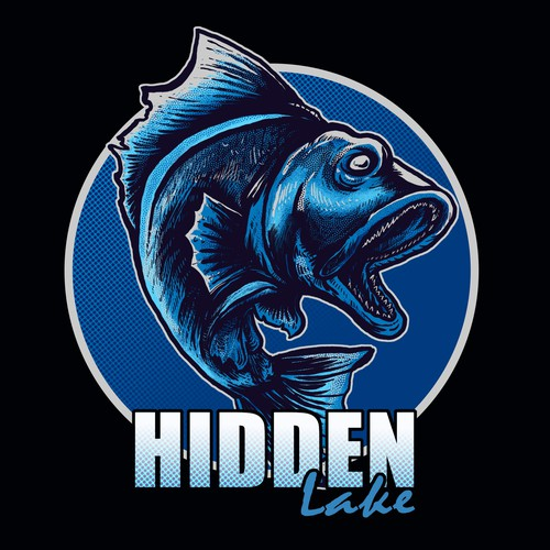 Fishing artwork with the title 'Big Mouth Bass icon for Hidden lake contest '