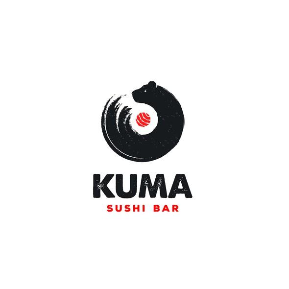 Sushi logo with the title 'Kuma Sushi Bar'