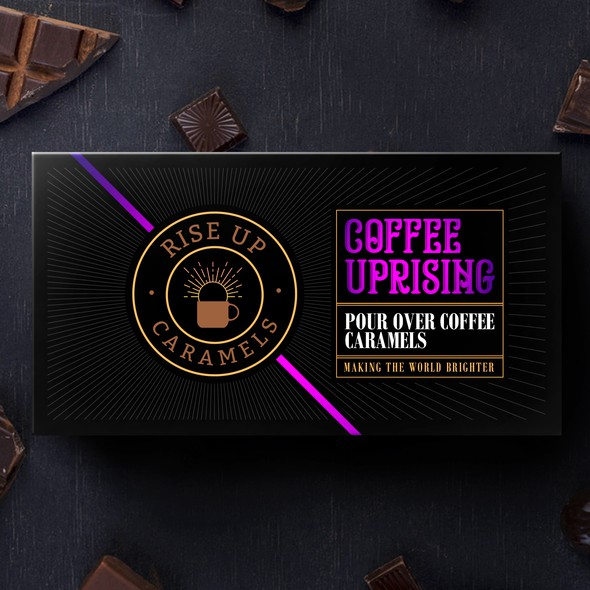 Caramel design with the title ' Rise Up Caramels'