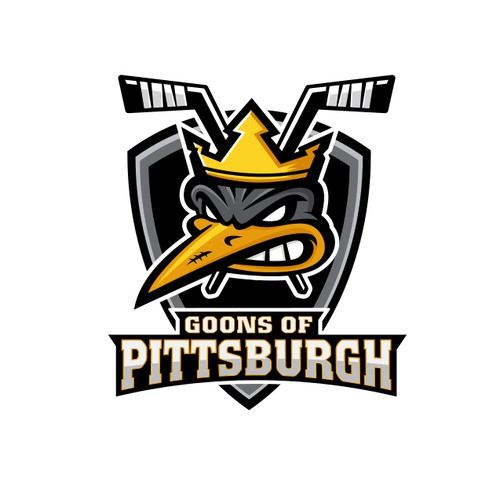 Hockey puck logo with the title 'Logo for Goons of Pittsburgh hockey team'