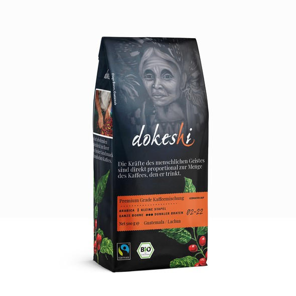 Roasted coffee packaging with the title 'dokeshi Coffee Bag '