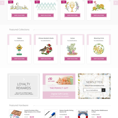 Homepage for Embroidery Shop