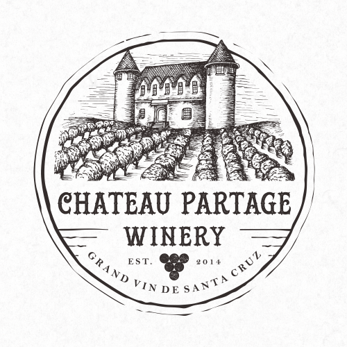 Distressed logo with the title 'Logo design for Chateau Partage Winery'
