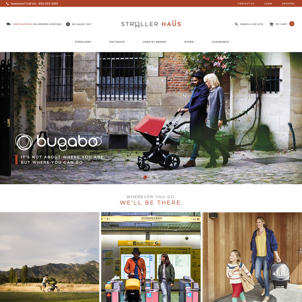 Contemporary website with the title 'Nordic Website Design for Stroller Haus'