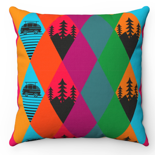 Funky design with the title 'pillows for campers'