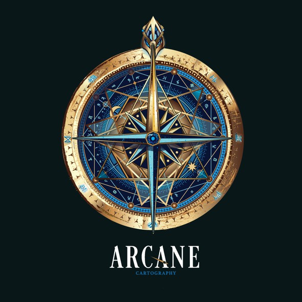 Compass logo with the title 'logo for Arcane cartography'