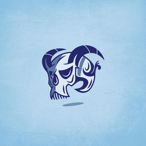 Devil logo with the title 'Blue Devil Tattoo Shop'