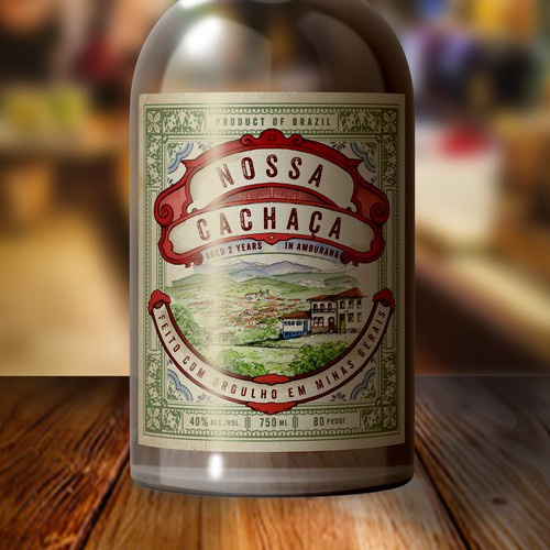 Gin design with the title 'Cachaca bottle label'