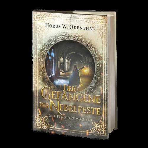 Design with the title 'Book cover: Der Pfad des Magiers: Der Gefangene der Nebelfeste'