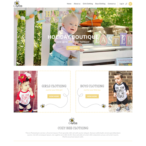 Beautiful website with the title 'Cozy bee clothing website concept'