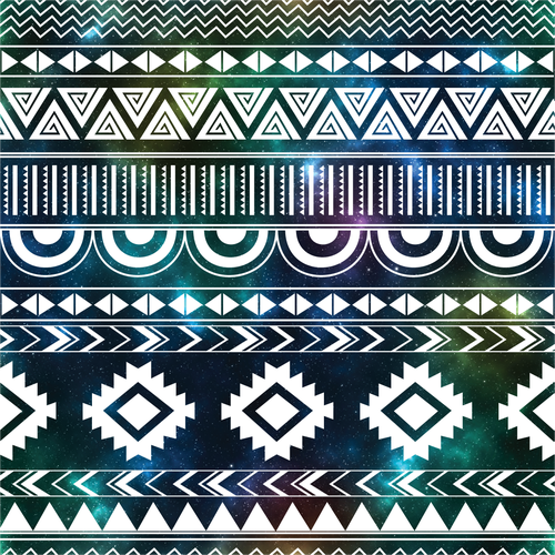 Textile illustration with the title 'Seamless Aztec Pattern'