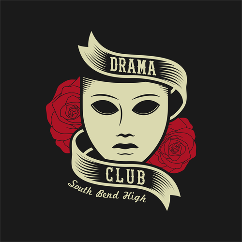 School t-shirt with the title 'Drama Club T-Shirt design'