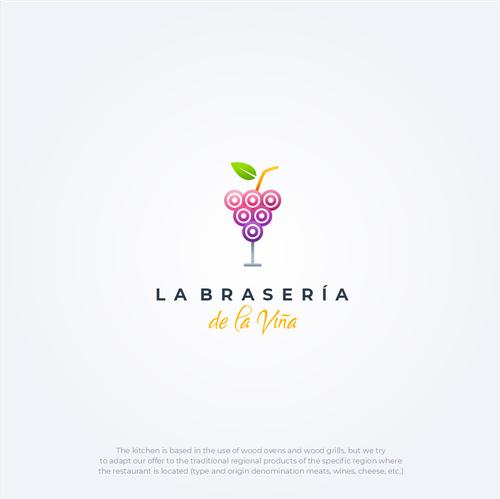Grape design with the title 'La Brasería de la Viña'