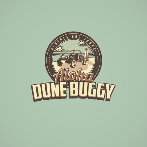 Electric car logo with the title 'Aloha Dune Buggy Needs You - Push The Envelope'